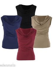 Gamiss Ruched Cowl Neck Sleeveless Blouse tops Casual Stretchy Top for ladies