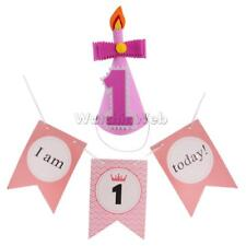 Lovelty Baby1st Birthday Party Cone Hat+I AM 1 TODAY Chair Banner Party Decor