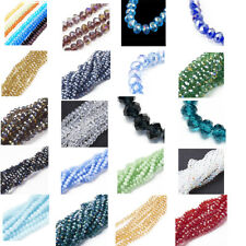10 Strds 24 Colors Faceted Crystal Glass Beads Abacus Loose Spacers Beads 6x4mm