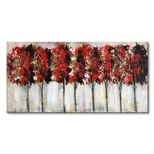 Red Tree Modern Oil Painting Hand Painted Canvas Wall Art Abstract Artwork Frame