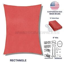 Red Rectangle Sun Shade Sail Fabric Awning CanopyTop Custom 5' -24' W/8in SW Kit