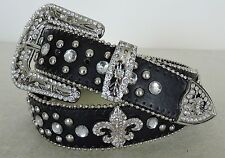 Black Ladies Western  Fleur de Lis Rhinestone Belt