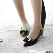 Girls Womens Cute Bow Tie Flat Heels Pointy Toe Brogues Loafers Shoes Full Size