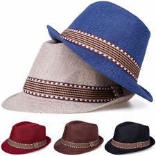 Kid Boy Girl Fedora Hat Contrast Trim Jazz Hat Felt Trilby Cap Dance Show Sunhat