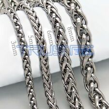 20-30'' MENS Stainless Steel 3/5/6/8/mm Silver Tone Cuban Curb Chain Necklace
