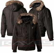 Mens Parka Parker Quilted Warm Padded Winter Jacket Fur Hood Coat Fashion Black