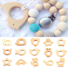 1PC Safe Natural Wooden Animal Shape Ring Baby Teether Teething Toy Shower Gifts