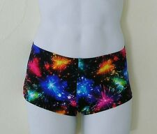 MENS Low Rise Square Cut Swimsuit in Fireworks Print: S-M-L-XL