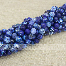 "Blue Natural Agate Enhanced Crack Faceted Round Loose Beads 15.5"" One Strand"