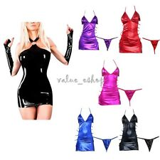 Sexy Women PVC Mini Dress Lingerie Faux Leather Clubwear G-String Underwear Set