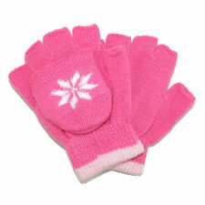 New CTM Girls' Stretch Convertible Fingerless Winter Mittens / Gloves
