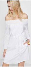 NWT Express Smocked Off The Shoulder Linen-Cotton Tunic Dress Sold out Value $80