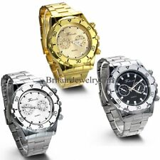New Fashion Stainless Steel Band Quartz Analog Sport Mens Wrist Watch Gift