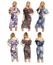 WOMENS LADIES STRIPED BARDOT OFF THE SHOULDER  TROPICAL FLORAL MIDI PARTY DRESS