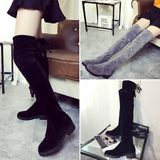 Womens Ladies Over Knee Thigh Flat Heel High Boots Faux Suede Long Stretch Shoes