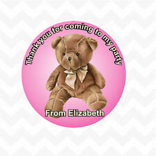 Teddy bear personalised name thank you birthday party stickers 12 pack blue/pink