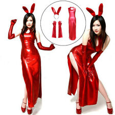 Girl Sexy Red Rabbit Cosplay Bunny Party Womens Costume Leather Dress Halloween