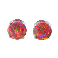 Orange Blue White Opal 925 Sterling Silver Women Jewelry Stud Earrings SE001-3