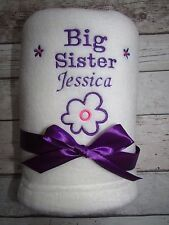 PERSONALISED BABY BLANKET BIG LITTLE BROTHER SISTER EMBROIDERED NAME GIFT