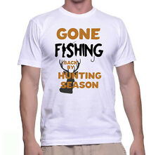 Gone Fishing - Funny Joke Fishing T-shirt - 100% Ringspun Cotton