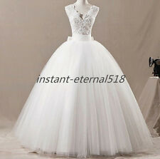 New White /Ivory lace Wedding Dress Bridal Gown Ball STOCK Size 6 8 10 12 14 16