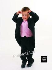 Boys Suits 5pc Black & Pink Tails Suit Formal Wedding Pageboy 0-3mths-15yrs