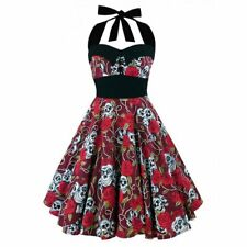 Womens 50s 60s Swing Retro Hepburn Pinup Rockabilly Evening Cocktail Dress M RED