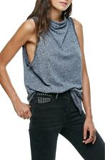 Free People NWT Madrid Navy Marled Mock Cowl Neck Sleeveless Tunic Top Tank XS,M