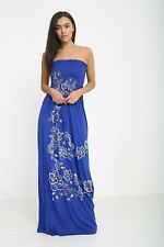 Womens Strapless Maxi Dress Ladies Sheering Boobtube Bandeau plus size Long dres