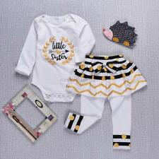 Baby Girl Toddler Long Sleeve Romper Bodysuit Shirt + Culottes Pantskirt Outfits