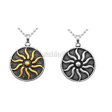 Amulet Sun-god 316L Stainless Steel Flame Round Pendant Necklace Jewelry