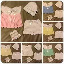 Handmade Crochet Knit Baby Girl Layette Coming Home Outfit Dress Gift Set 4pc