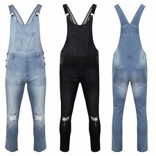 NEW WOMEN LADIES STRETCH RIPPED DISTRESSED DENIM DUNGAREES JUMPSUIT SKINNY JEANS