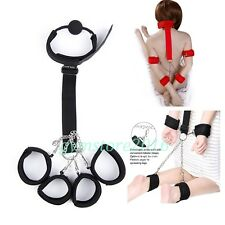 Wrist to Collar Handcuffs Ankle Cuffs Mouth Gag Neck Restraint Straps Set Toy