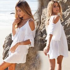 Womens Off Shoulder Top Dress Summer Party Beach Dress Pleated Short Mini Dress