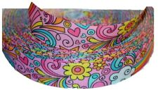 "Retro Groovy Flower Power Pink Splash 1"" Printed Grosgrain Hairbow Ribbon"