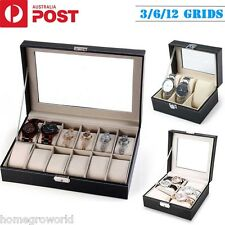 3/6/12 Grids Watch Case Holder Jewelry Storage Box Display Organizer Gift Case