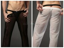 New Mens Sexy See-through Lingerie Sport Gauze Pants GYM Long Trousers Underwear