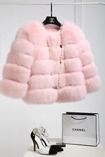 Pink Women's Warm Faux Fur Winter Long Sleeves Outwear Waistcoat Jacket Coat