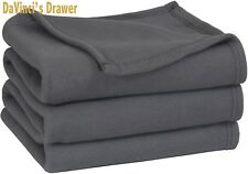 Polar-Fleece Thermal Blanket Grey Extra Soft Brush Fabric Super Warm Bed Blanket