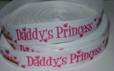 "Pink Daddy's Princess Crown 7/8"" Printed Grosgrain Hairbow Ribbon"