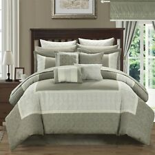 NEW Queen King Bed Bag 25 pc Taupe Beige Comforter Sheets Pillows Window Set NWT