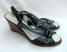 NEW CLARKS ACTIVE AIR SKY DIVE WOMENS BLACK LEATHER WEDGE SANDALS SIZE 6.5 / 40