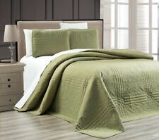 Twin XL Full Queen Cal King Solid Sage Green 3 pc Quilt Set Coverlet Bedspread