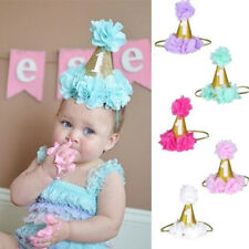 Baby 1st Birthday Flower Cone Princess Hat Crown Headwear Hairband Party Photos
