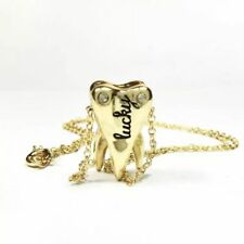 Necklace Molar Teeth Golden Metal Necklaces Dental Culture Dentist Assistant