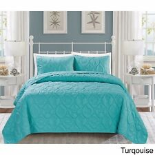 Queen King Bed Turquoise Beach Coastal Seashells 3 pc Quilt Set Coverlet Bedding
