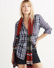 Abercrombie and Fitch Top Women's Soft Mix Plaid Shirt Blouse S M Blue Plaid NWT