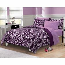 Twin Full Queen Bed Bag Purple White Zebra Animal Stripe 7pc Comforter Sheet Set