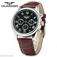 GUANQIN Men's Calendar Steel Quartz Watch Water-Resistant 100M